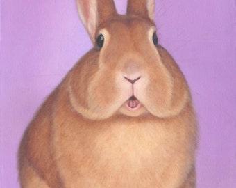 Original Rabbit Painting - Bunny Painting - Animal Art - Sweet Cheeks - Original Nursery Art - Children's Art -10% Benefits Animal Charities