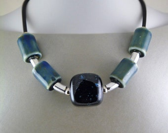 Blue  and Night Blue Porcelain Oversized Statement Necklace