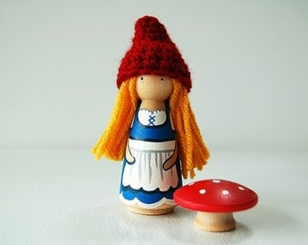 Pixie Gnome - Girl Woodland Gnome - Blonde Hair - Peg Doll- Unique Gift - Zooble