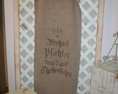 Antique Extra Long Writing Printed German Grainsack Beautiful Washable Linen Fabulous Old Mends so Chic & Cool Michael