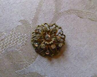 Delicate Circular Gold-tone Metal Pin With Rhinestones