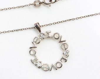 vintage love circle necklace sterling silver pendant and chain necklace silver 925