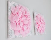 Silver Gray, White and Light Pink Damask Nursery Wall Hangings - Pink and Gray Baby Nursery Wall Art - Baby Shower Gift -Gift for Her -