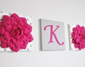 Custom Girl Nursery Letter, Hot Pink and Grey Nursery Letters, Wall Hanging Letter and Flower Set, Nursery Decor, Personalized Initial Decor