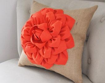 Burlap Pillow - Coral Flower Pillow, Rustic Decor, Rustic Wedding, Burlap Pillow, Decorative Pillow, Burlap Accent Pillow Cover, 16x16inch