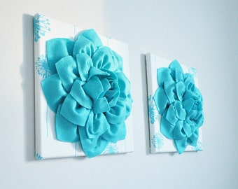 """Flower Wall Art -Light Turquoise Dahlias on White and Light Turquoise Dandelion 12 x12"""" Canvas Wall Art- Baby Nursery Wall Decor set of TWO"""