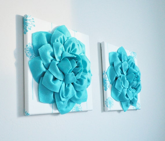 Flower Wall Art Light Turquoise Dahlias on White and Light