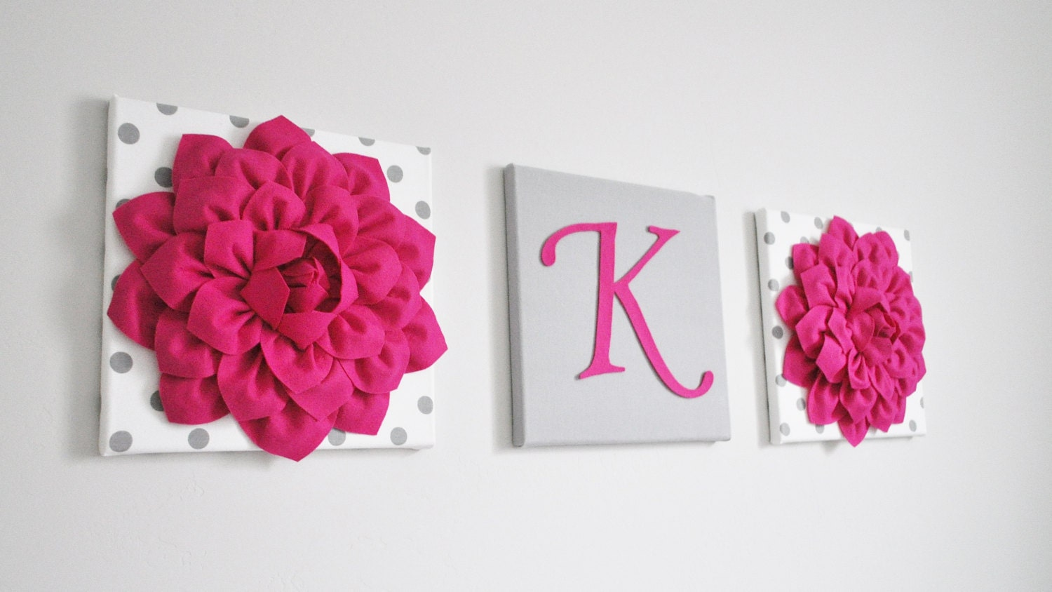 Custom Girl Nursery Letter Hot Pink And Grey Nursery Letters