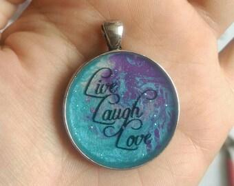 Live laugh love pendant, Live laugh love, pretty pendant, blue and purple, glitter pendant, sparkly quote pendant, quote pendant, unique