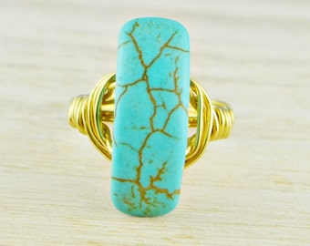 Turquoise Statement Ring -Yellow or Rose Gold Filled or Sterling Silver Wire Wrapped Turquoise Gemstone-Any Size 4,5,6,7,8,9,10,11,12,13,14