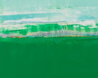 Abstract PRINT Giclee painting on paper,green,blues,art prints,wall art,Green Field,tkafka,traceykafka