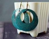 Patina Circle Earrings Turquoise Earrings Green Dangles Concave Earrings Boho Open Dome Earrings Round Cutout Disc Drops Gift Best Friend