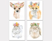 Watercolor Animal Floral Art Prints - Set of 4 - Deer Fox Squirrel & Bunny - Nursery Childrens Room PORTRAIT-Vertical Orientation