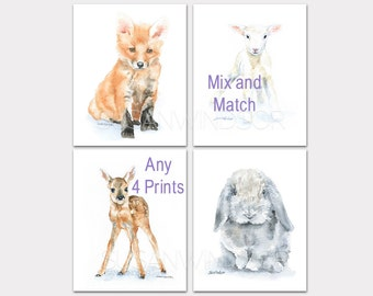 Watercolor Nursery Art - Mix and Match any 4 Art Prints - Watercolor Painting - Print Set Animal Art