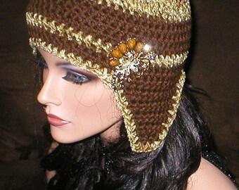 35 % OFF SALE Women Dark Chocolate Brown Chenille Vintage Style Reproduction Rhinestones Brooch Ear Flap Hat Snowboard Hat