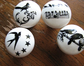 Dresser knobs | ceramic pulls | bird decor | floral | woodland