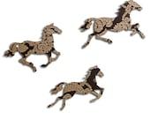Brown and Gold Print Galloping Horses - Retro Wallpaper - Wall Art
