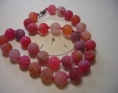Agate Necklace, pink, orange, purple, handmade, knotted Dragons Veins Agate, 12mm natural gemstone, Nova Scotia, Canada, raspberry colored