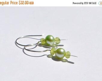Valentines Sale Peridot and Pearl Earrings, Green Earrings, Spring Green, Tender Shoots, Light Green, August Birthstone, June Birthstone