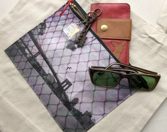 Tote bag, Zipper pocket, Brooklyn Bridge, Photo Pocket Cotton Tote Bag, Gift for her, Glossary bag, Shopping bag, School tote, Carry bag