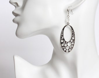 Large Oval Dangle with Hole Pattern Earrings
