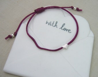 Sterling Silver Heart Friendship Bracelet - Handmade - Adjustable - Colour Options