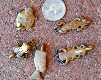 African Brass/Copper Charms: 5 Pieces