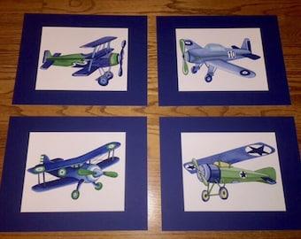 airplane art prints, vintage airplane art, airplane nursery wall art, airplane bedroom, matted set