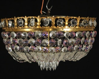 Exclusive empire style gold 3 lights flush mount, exquisite Bohemian clear and purple crystals, ceiling lamp,  perfect for low ceilings