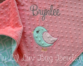 Personalized baby blanket - bird baby blanket - baby gifts personalized - baby shower gift - handmade baby blankets - baby gifts for girls