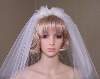 Short Vintage Inspired Veil with Small Organza Floral Design.
