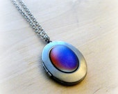 Blue Moonstone Locket Necklace Vintage Glass Moonglow Moon Stone Jewelry