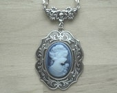Victorian Cameo Necklace Victorian Jewelry Cameo Necklace Victorian Necklace Blue Cameo Gift for Mom