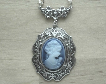Cameo Necklace - Blue Cameo Necklace - Blue Cameo Jewelry - Blue Cameo Pendant - Victorian Jewelry - Romantic Jewelry