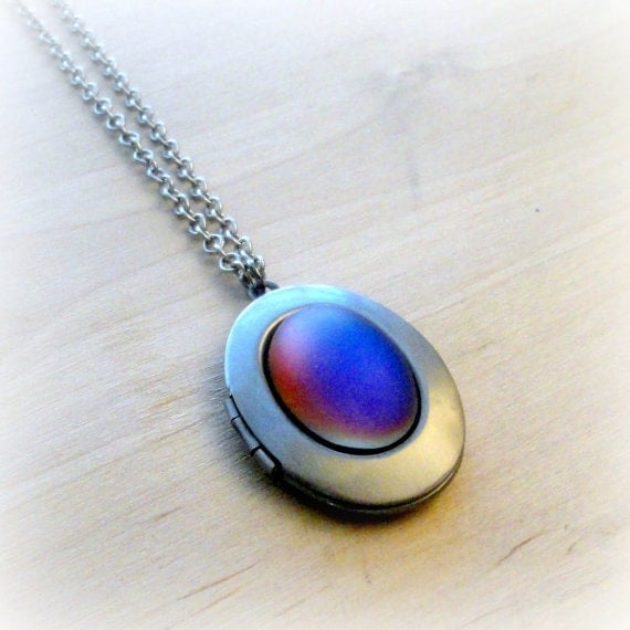 Blue Moonstone Locket Necklace Picture Locket Moonstone