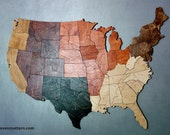 "USA Map Puzzle - 30"" wide & Stained Regions"