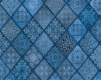 Diagonal Filigree Patch Blue - Heavenly from Quilting Treasures - Full or Half Yard Dark Chambray Ornate Diamonds