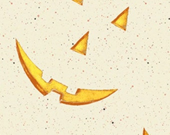 Jack-o-Lantern Faces on Cream - Jeepers Creepers from Clothworks - Full or Half Yard