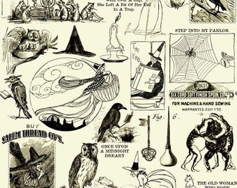Sew Scary by Janet Wrecker Frisch for quilting Treasures - Full or Half Yard Halloween Owls, Ravens, Spider Webs Black on Cream