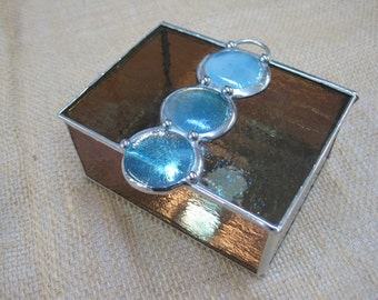 Stained Glass Keepsake Box with Fused Cabochons Bronze/Turquoise