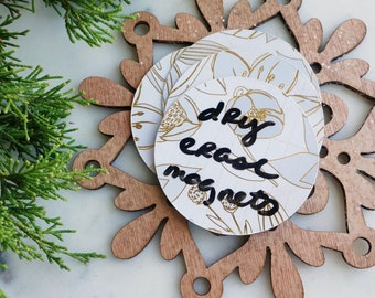 Dry Erase Memo Magnets - Gold Christmas Decor-  Set of 3 Cute Fridge Magnets - Magnetic Whiteboard Notebook Paper - Clever Gifts for Mom