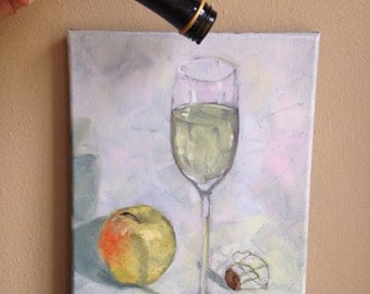 Prosecco and Golden Apple, original oil painting, still life