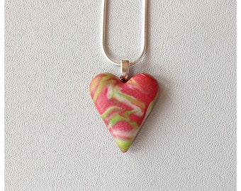 Polymer Clay Marbled Red,  Green and White Heart Necklace Pendant