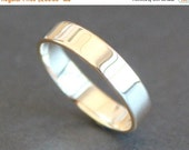FLASH SALE 10K Solid Gold Ring - 4mm Rectangle Band - Simple Unisex Wedding Ring (Size 4 - 12) - Shiny, Matte or Hammered
