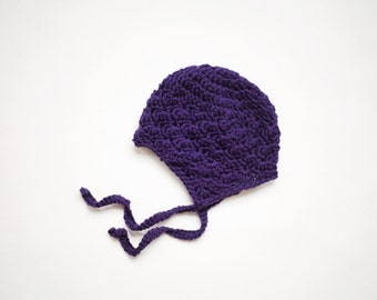 Baby Earflap hat in Eggplant Merino, Crochet Baby Hats for Girl, Hat for Baby Girl, READY TO SHIP, 3 to 6 Months