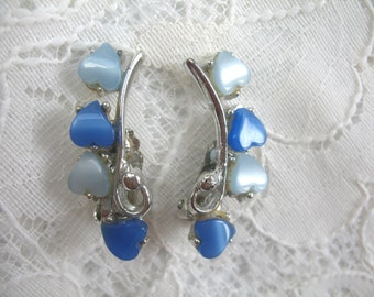 Vintage Earrings ~ Blue Thermoset Hearts ~ Clip On