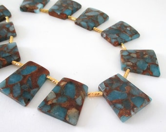"Blue Composite Beads - Composite Golden Quartz Trapezoid - Top Drilled Mosaic Slab - Double Sided Geometric - Jewelry Making - 7.5"" Strand"