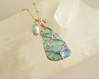 Wire Wrapped Abalone Shell With Labradorite and Freshwater Pearl on Long Raw Brass Chain Necklace