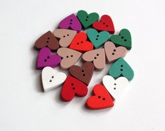 18 wood buttons 18mm- assorted colours- mixed pack