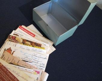 Light Green METAL BOX - retro recipes!!     retro Vintage RECIPE Office File Card